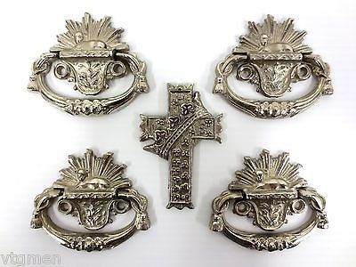 Vintage Nickel Plated Funeral Casket Handles & Crucifix, Catholic Gothic Coffin
