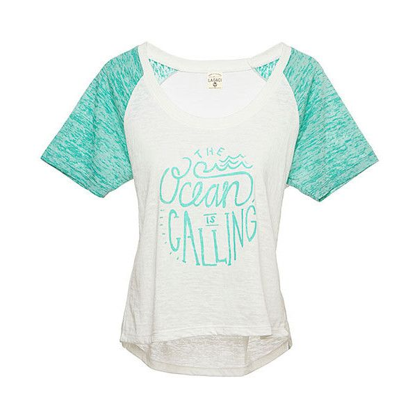 Lagaci Mint 'The Ocean is Calling' Burnout Tee ($15) ❤ liked on Polyvore featuring tops, t-shirts, mint green t shirt, white top, burnout tees, burn out t shirt and white tee