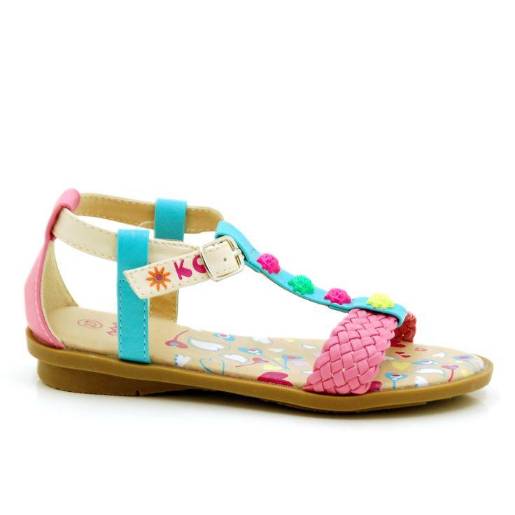 Sandalia niña con pala trenzada y detalle de mini-mariquitas multicolores en la t por 25,99 €  http://www.tinogonzalez.com/sandalias-nina-zapatos-online/3951-none.html#/color-rosa/talla-24/gama-rosa