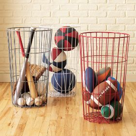 Love this to store our pool toys. All the water drains and allows the toys to dry.Garages, Sports Equipment, Fleas Marketing, Ball Bins, Wire Baskets, Boys Room, Storage Ideas, Toy Storage, Toys Storage