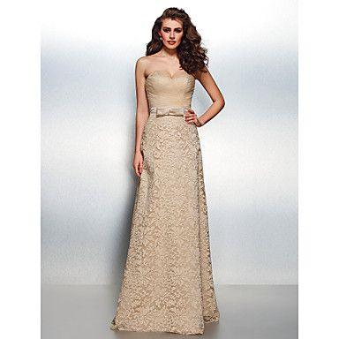 regreso a casa vestido de noche formal - vaina champán / novia de encaje piso-longitud de la columna – MXN $ 3,178.81