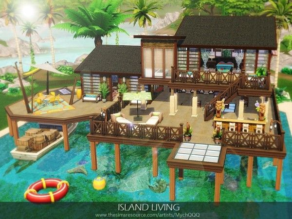 Island Living By Mychqqq For The Sims 4 Sims 4 House Design Sims House Sims House Design