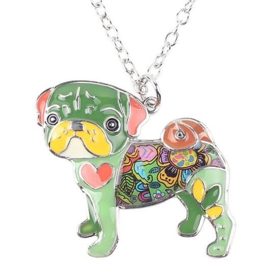 Green Pug Necklace - Square Berry Co