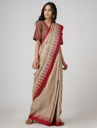 8f3fce6cd7 Beige-Red Sambalpuri Ikat Ghicha Tussar Silk Saree | The Saree Story ...