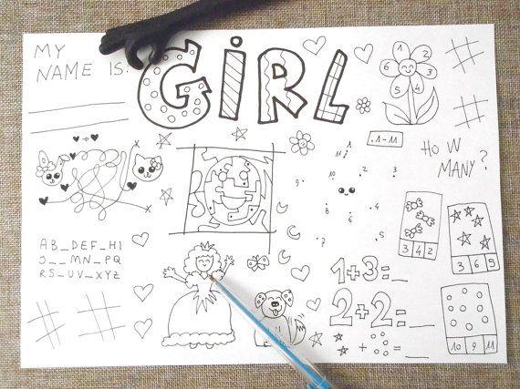 girl gale kids activity sheet games table coloring printable rainy day printable game diy home teaching download digital lasoffittadiste