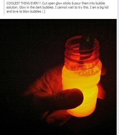 Cut open glow sticks & pour them into bubble solution. Glow in the dark bubbles. Perfect for summer nights