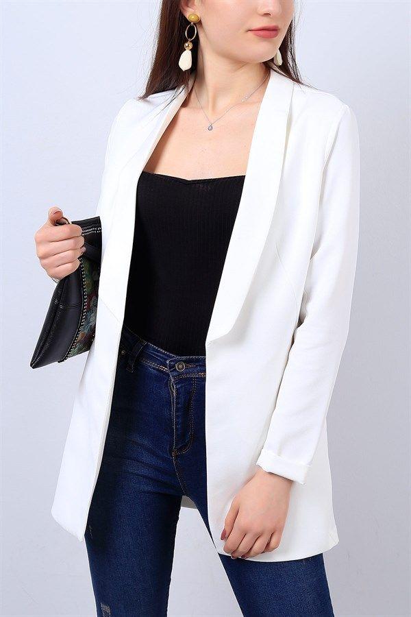 54 95 Tl Beyaz Bayan Blazer Ceket 13600b Modamizbir Blazer Ceket Moda Stilleri Kadin Ceketleri