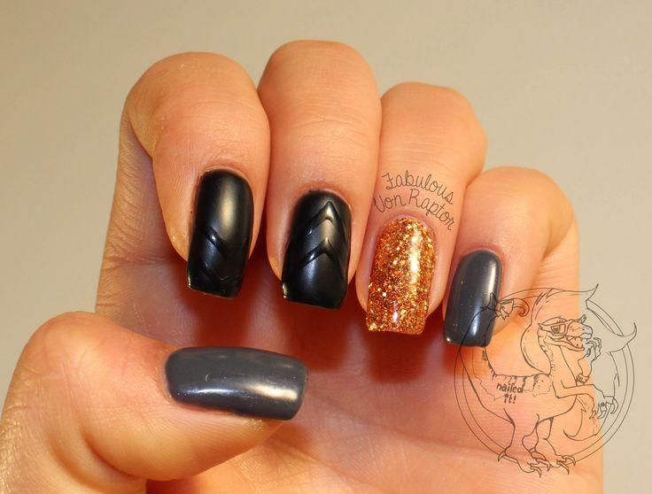 Fabulous Von Raptor - Once You Go Matte Black | Nail Art | Glitter | Matte | Rhinestone