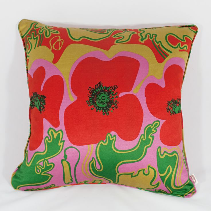 The iconic Sanderson fabric 'Floppy Poppy' fabric made into a beautiful cushion.