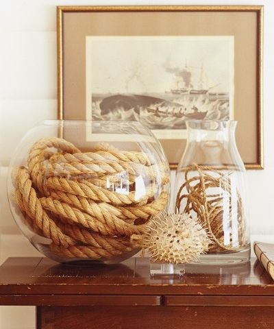 Nautical Style hallway with old rope and sea shells