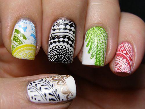 #mismatched #nailsNails Stamps, Nails Art, Nailart, Nails Design, Rings Fingers, Beautiful, Colors Nails, Nails Polish, Pattern Nails