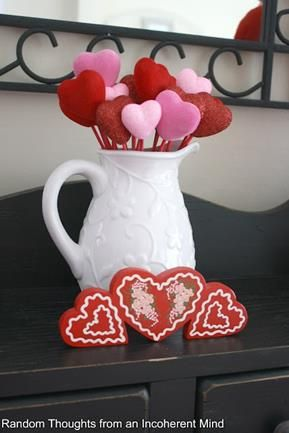 Pitcher of Hearts Valentines Day decoration/craft
