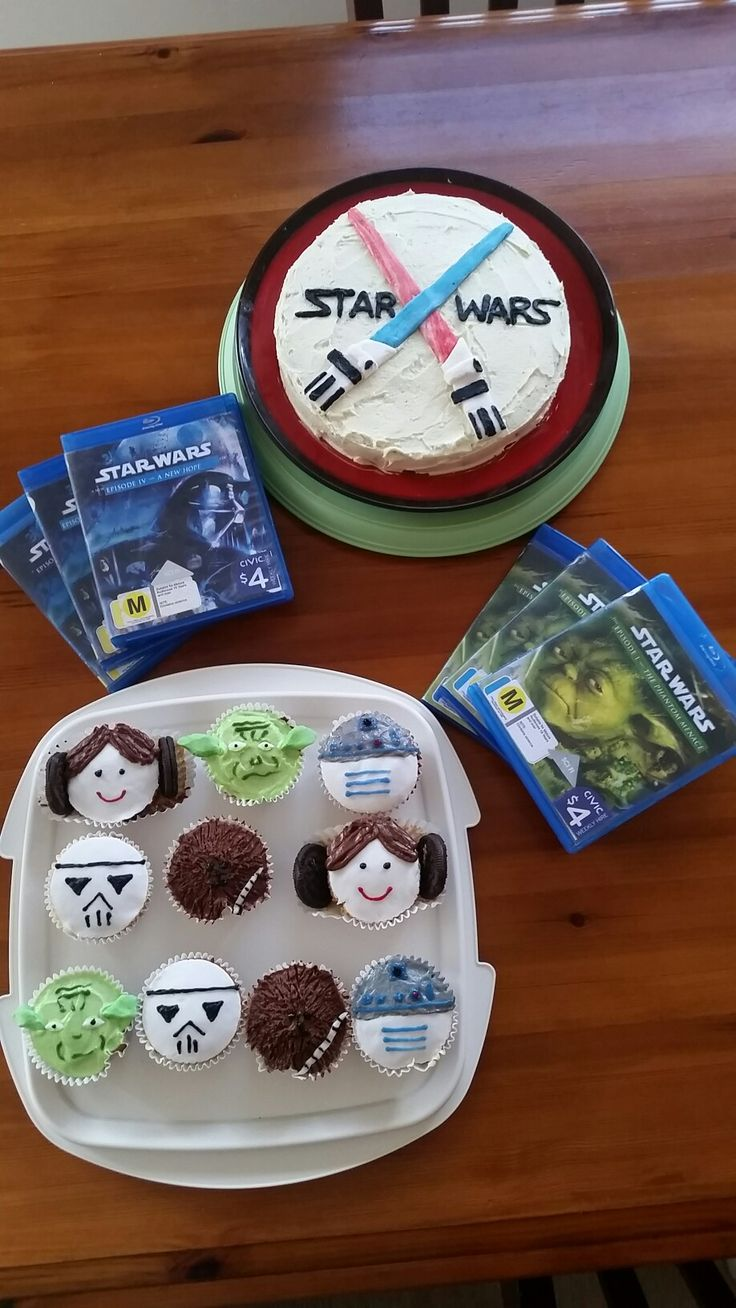 K8iekates Original Pin- Star Wars themed Cupcakes! Just white fondant, butter and chocolate butter cream icing and icing pens! Super cute and super delish!