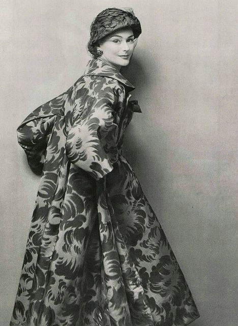 Jacques Fath, 1953///How I adore the roominess and gathered elegance of many  of the 1950's coats....such sweet mystery....Fath  especially...