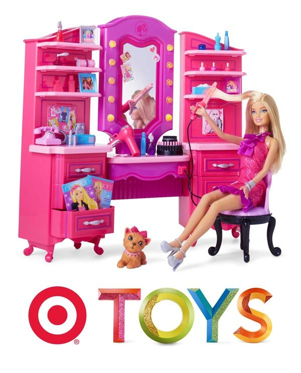 Help Barbie get dolled up with the Barbie Vanity Playset. for little miss ... someday :)