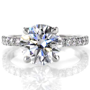 Beautiful classic engagement ring with 2.25ct sparkling round brilliant center stone. Micropave set diamonds add even more detail and sparkle. #knoxjewelers  and four prong center Design 2484 from Knox Jewelers
