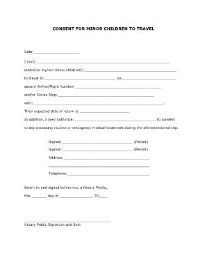 CONSENT FOR MINOR CHILDREN TO TRAVEL - AAA Fill Online, Printable ... - medical consent form for minors