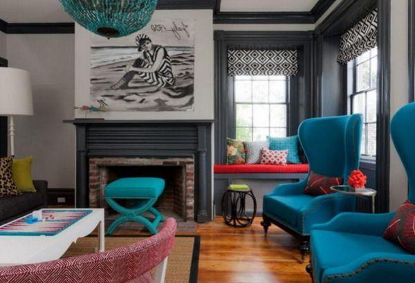 Бирюзовые и голубые акценты в интерьере гостиной :: Фото красивых интерьеров