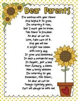 End of Year Poem to Parents Freebie - Wild About Teaching - TeachersPayTeachers.com