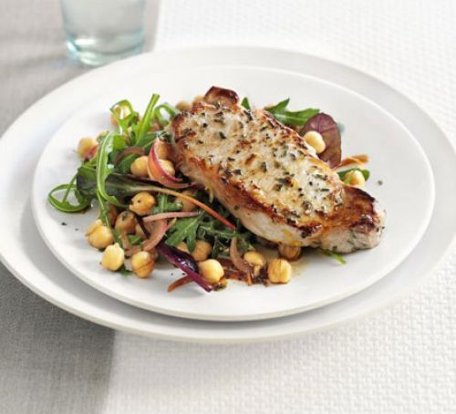 Lemon & rosemary pork with chickpea salad