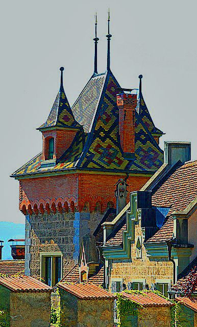 Oberhofen Castle, on Lake Thun, Switzerland