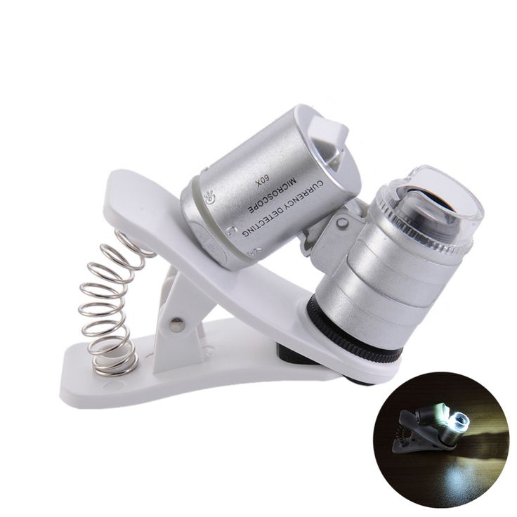 Universal Mobile Phone Microscope Macro Lens 60X Optical Zoom Magnifier Micro Camera Clip LED Lenses For iPhone SE 5S 6S Plus //Price: $US $2.77 & FREE Shipping //     #iphone