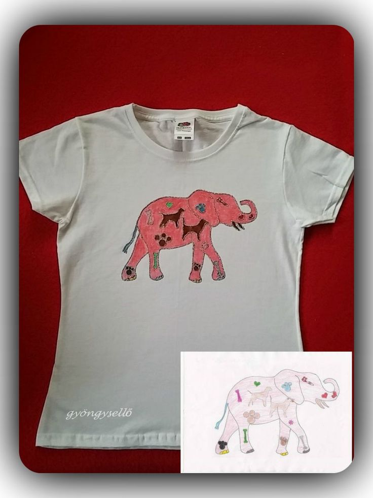 8 éves kislány rajza alapján, kézzel festett gyerek póló