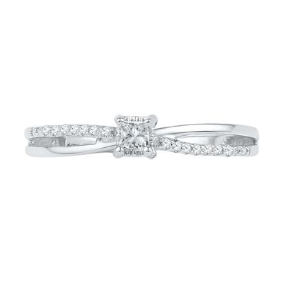1/8 CT. T.W. Princess-Cut Diamond Split Shank Promise Ring in 10K White Gold - View All Rings - Zales