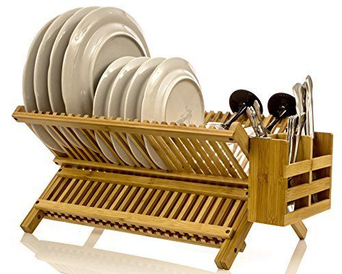 Intriom Bamboo Folding 2 Tier Collapsible Drainer Dish Drying Rack