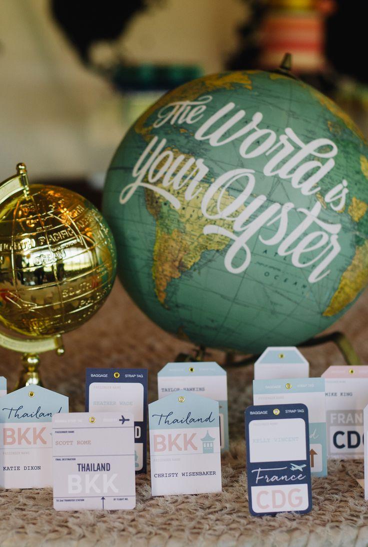 Vintage Luggage Tag Escort Cards by AnthologiePress | travel theme wedding | travel escort cards | unusual escort cards | creative escort cards