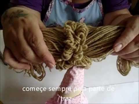 Artesanato Como fazer CABELO de BONECA de pano Modelo 3 - DIY muñeca - YouTube