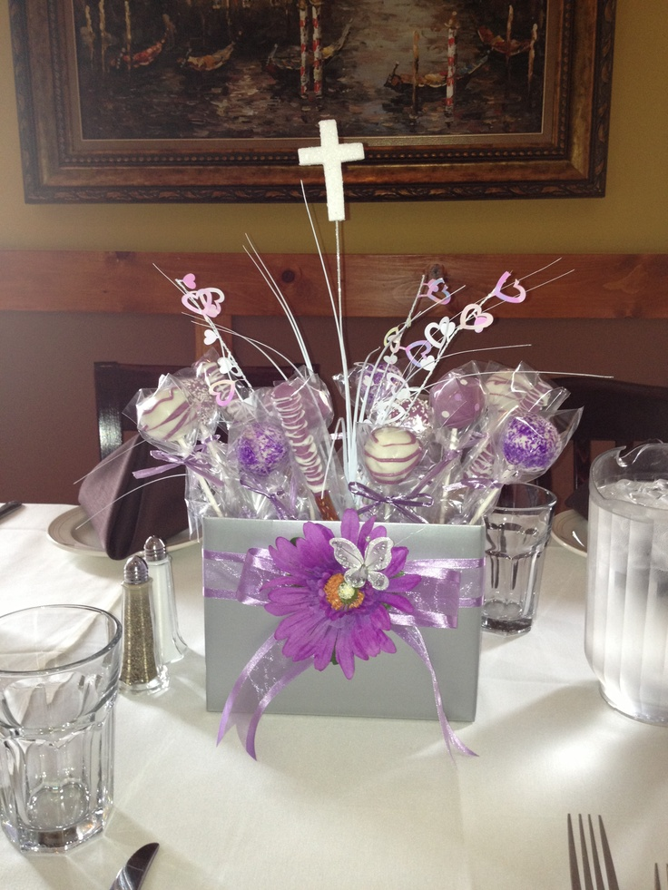 Communion cake pop centerpiece pops pinterest