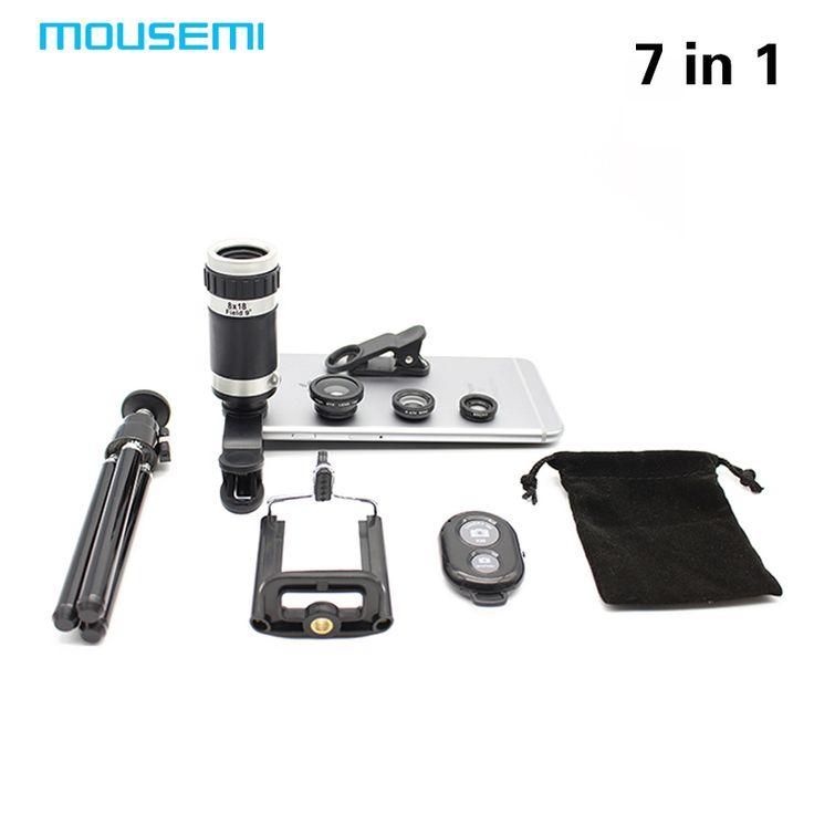 Nuevo 7en1 8X Zoom Óptico Del Telescopio Lente de la Cámara Universal Soporte para Teléfono Stander 3in1 Ojo de Pez Lentes Lentes de Obturación Bluetooth