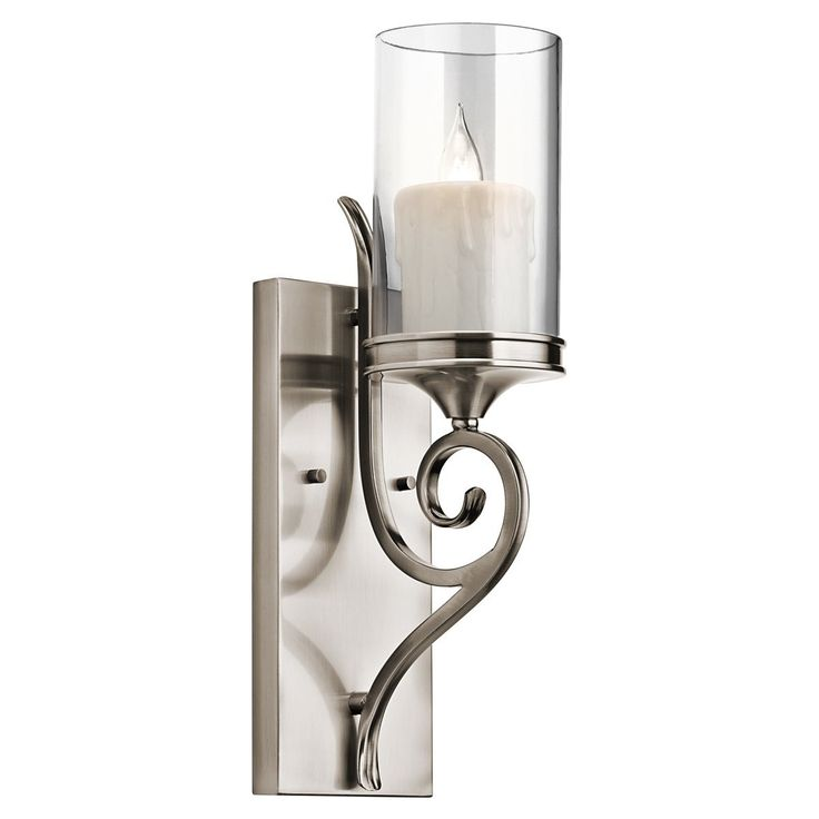 Clear Glass Candle Wall Sconces : Kichler Lighting 45362CLP Lara 1-Light Wall Sconce, Classic Pewter Finish with Clear Outside and ...