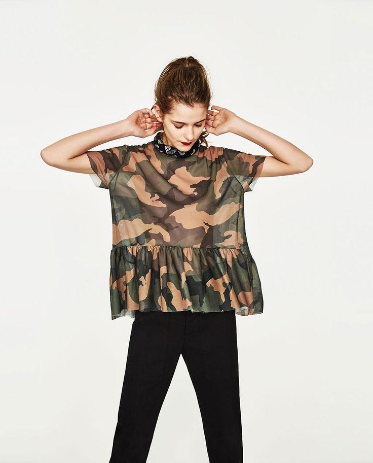 カムフラージュチュールTシャツ-すべてを見る-Tシャツ-レディース | ZARA 日本