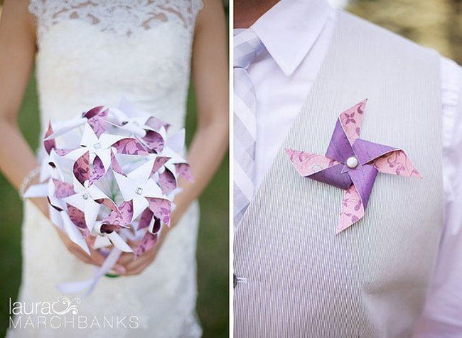 PINWHEEL LOVE! Pinwheel Bouquets and Boutonnieres | Pinwheel Wedding Ideas | Confetti Daydreams ♥  ♥  ♥ LIKE US ON FB: www.facebook.com/confettidaydreams  ♥  ♥  ♥ #Wedding #WeddingTrends #Pinwheels