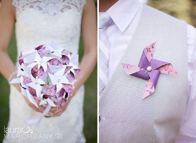 PINWHEEL LOVE! Pinwheel Bouquets and Boutonnieres | Pinwheel Wedding Ideas | Confetti Daydreams ♥  ♥  ♥ LIKE US ON FB: www.facebook.com/confettidaydreams  ♥  ♥  ♥ #Wedding #WeddingTrends #Pinwheels