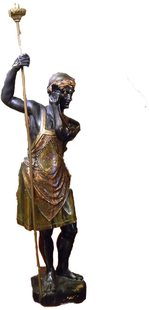 Polychromed Blackamoor Blackamoor figures are sculptures and other depictions of exoticized figures, usually African males but sometimes other non-European races, used in European art in the Early Modern period. #Blackamoor #polychrome painted, printed, or decorated in several colors $1,825 in Retirement Sale