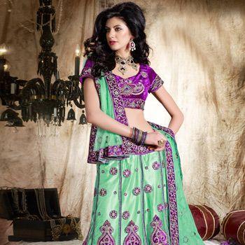 Pastel Green Net Lehenga Choli with Dupatta Online Shopping: LTS4B