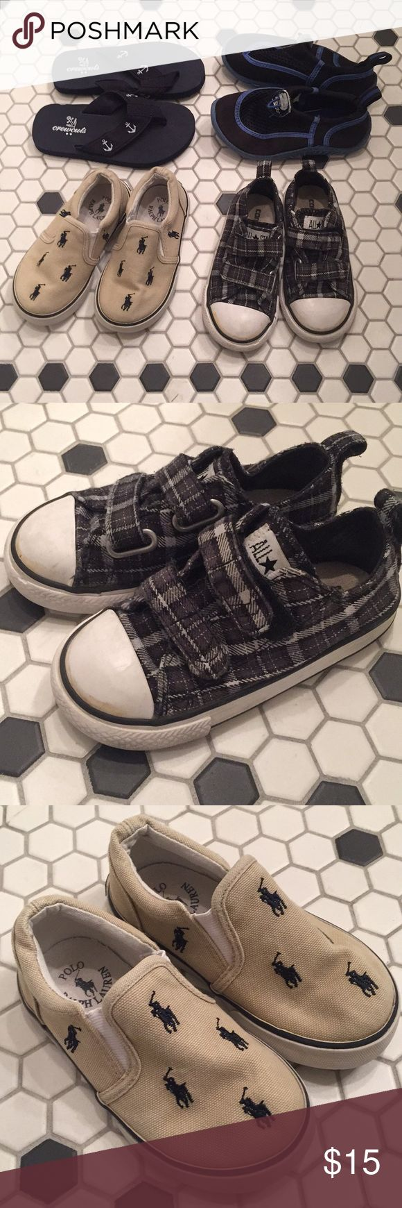 Boys Shoes: Converse Ralph Lauren J Crew Speedo 8T 4 pairs of Boys Shoes: Black Plaid Converse sz 8, Khaki Ralph Lauren slip-ons sz 8, Black Speedo water shoes sz 7 (run big), J Crew flip flops sz 8.  Great used condition!  Check out all of my boys clothes & shoes.  I love to bundle.  Send me an offer! Converse Shoes Sneakers