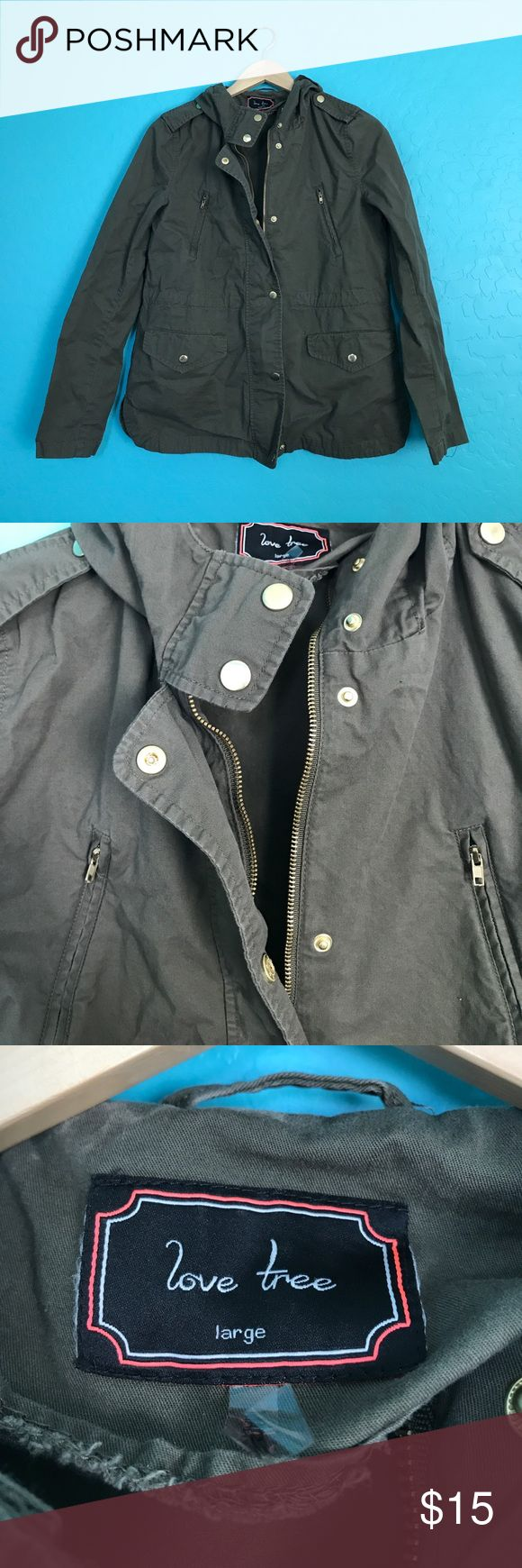Love Tree army green jacket Army green jacket. Zips up and buttons up. Super cute. Fits pretty large. love tree Jackets & Coats Utility Jackets