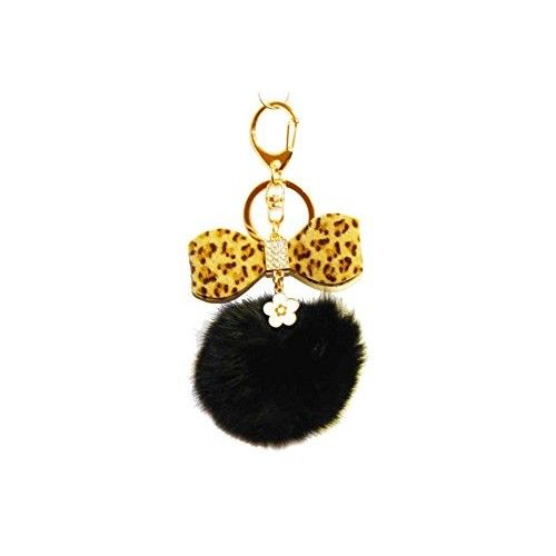 1 Pc Handmade Brown Pom Golden Keychain with Flower charm, leopard bow tie, and rhinestone