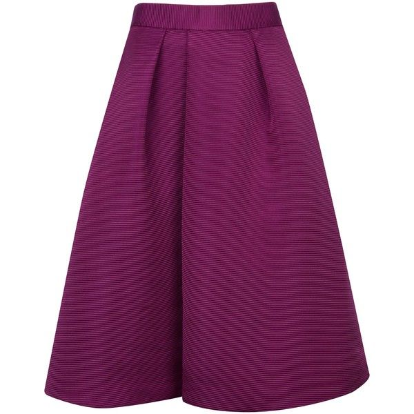 Ted Baker Zelida Midi skirt ($225) ❤ liked on Polyvore featuring skirts, purple, women, purple skirt, ted baker, high waisted midi skirt, high rise skirts and mid-calf skirt