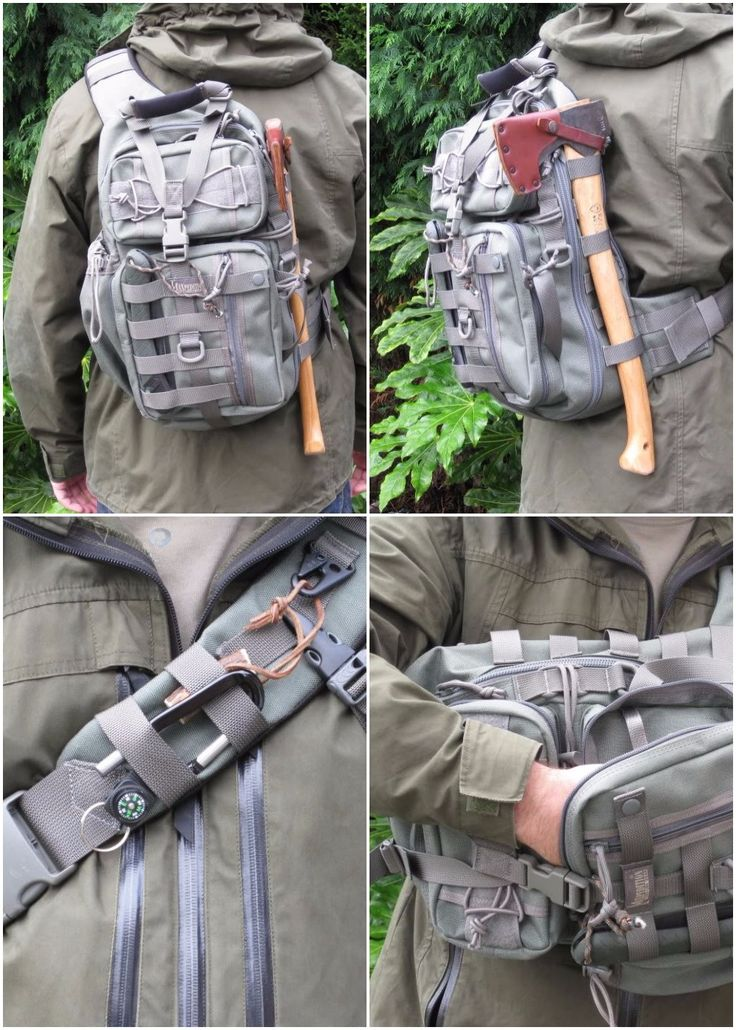 Maxpedition Sitka S-type Gearslinger. Left-side carry variation of the well-known Sitka Gearslinger. Single shoulder knapsack created to make the most of utility when rotated towards front of body.