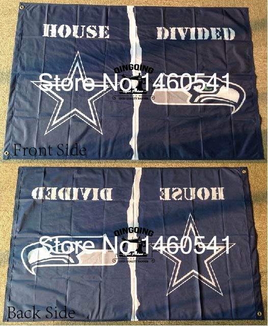Dallas Cowboys Seattle Seahawks House Divided Flag 3ft x 5ft Polyester NFL Banner Flying Size No.4 144* 96cm QingQing Flag