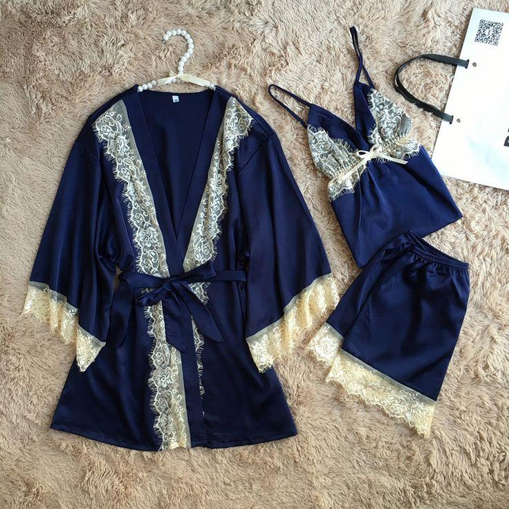 Ladies Pajamas Set Comfortable Womens Satin Pajamas Sets Silk Pajamas Robe Sexy Lace Sleepwear Silk Nightwear 3 pcs sets