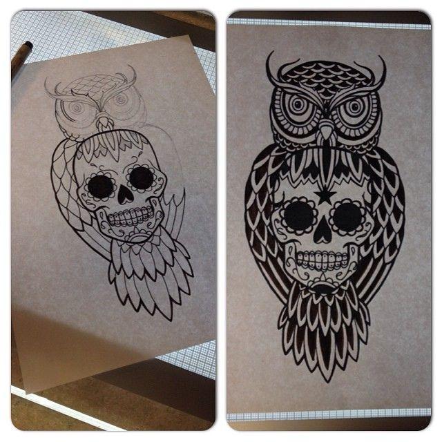 Owl sugar skull tattoo google suche tattoo pinterest for Owl and sugar skull tattoo