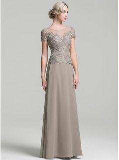 Vestidos princesa/ Formato A Decote redondo Longos Tecido de seda Vestido para a mãe da noiva (008091955)