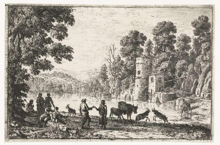 Gellée (genaamd Le Lorrain) , Claude | Dansen op de oever, Gellée (genaamd Le Lorrain) , Claude, 1632 - 1636 | Een gezelschap van herders met een aantal dieren op de oever bij een water. Twee mensen dansen.