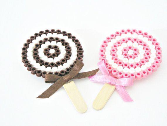Lollipop candy hama beads brooch by TyssHandmadeJewelry on Etsy, $4.50